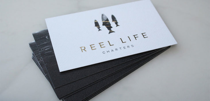 New logo print and web design for reel life charters sooke bc accompanying the beautiful business cards travis asked us to design the website gift certificates thank you cards and water bottle labels that he can reheart Choice Image